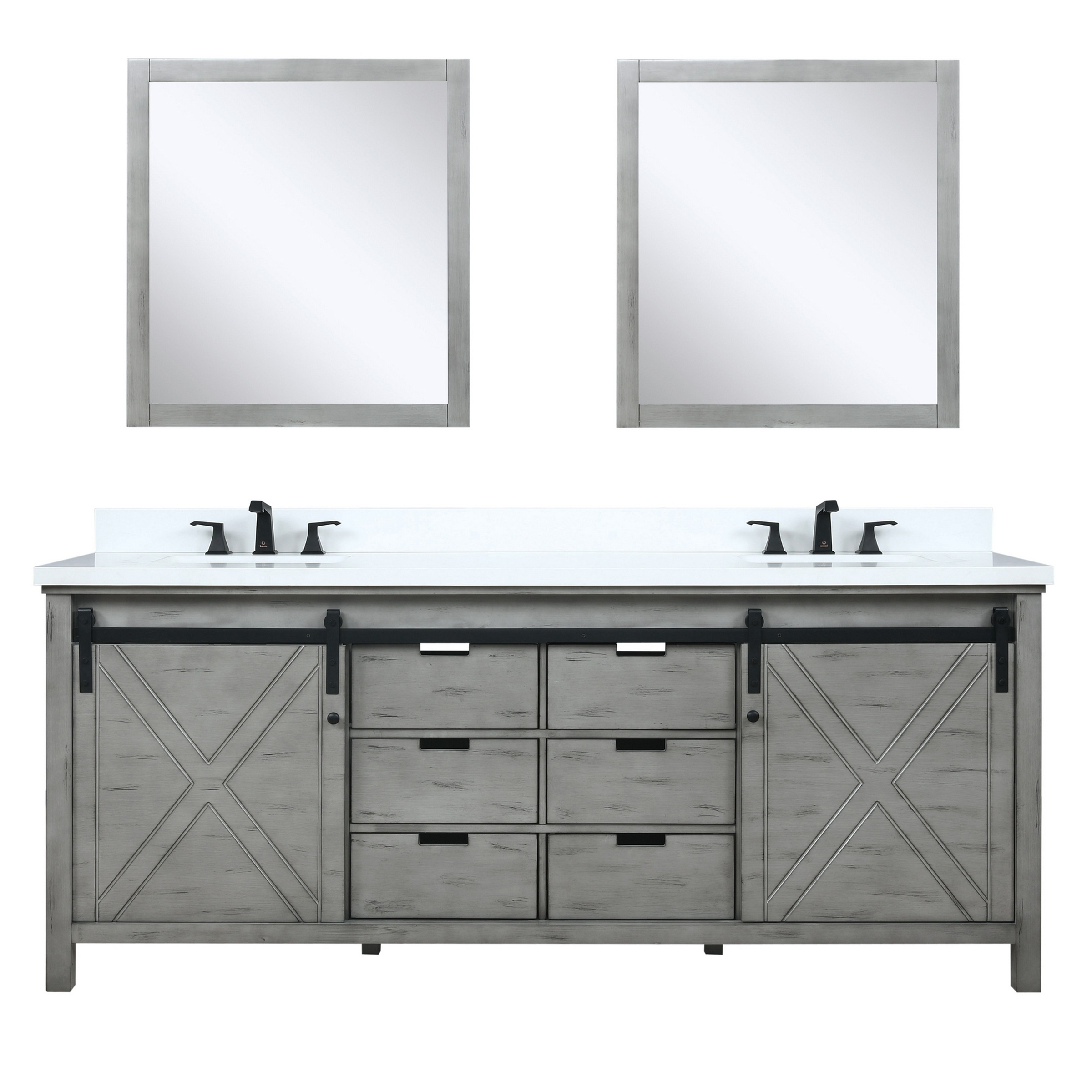 "80"" Ash Grey Vanity Cabinet Only with Countertop and Mirror Options"