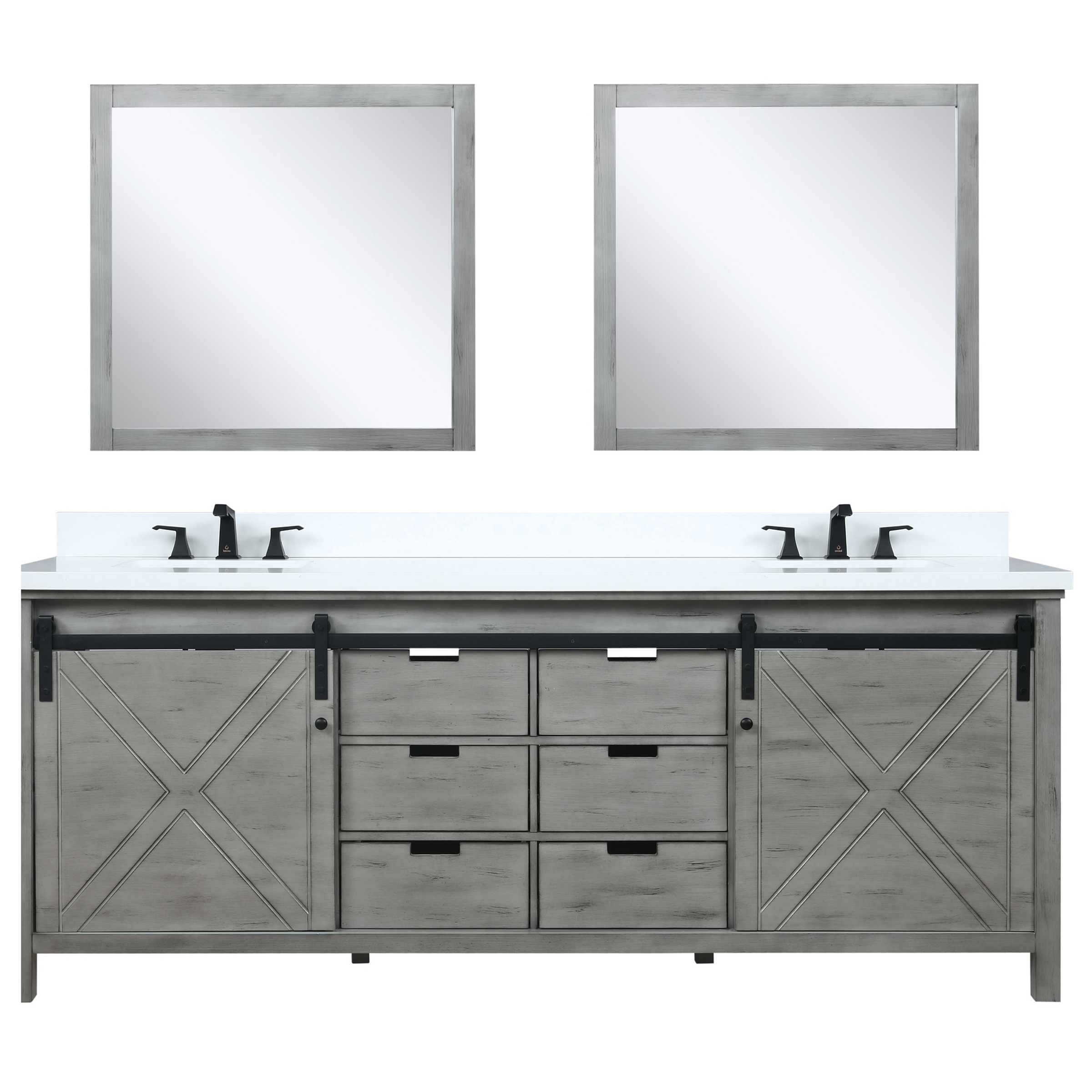"84"" Ash Grey Vanity Cabinet Only with Top and Mirror Options"