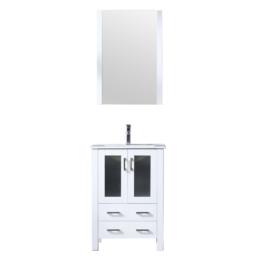 "24"" White Single Vanity, Integrated Top, White Integrated Square Sink and no Mirror"