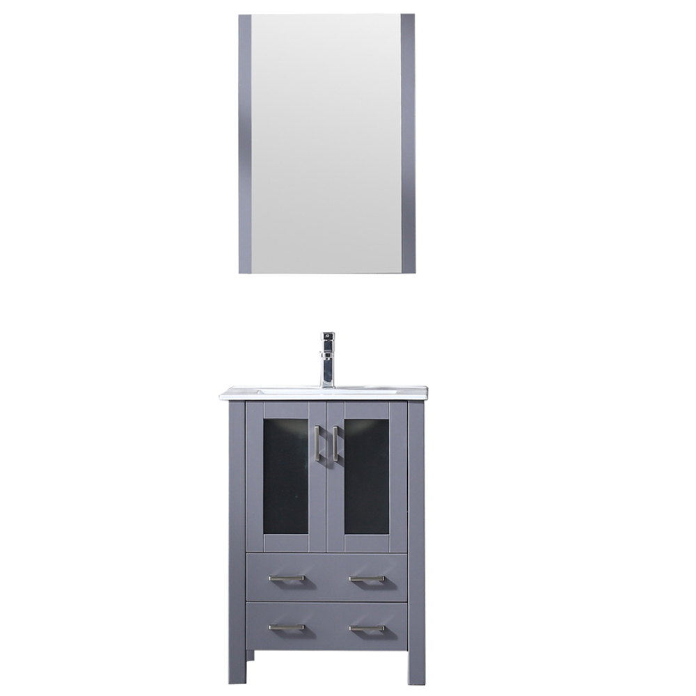 "24"" Dark Grey Single Vanity, Integrated Top, White Integrated Square Sink and no Mirror"