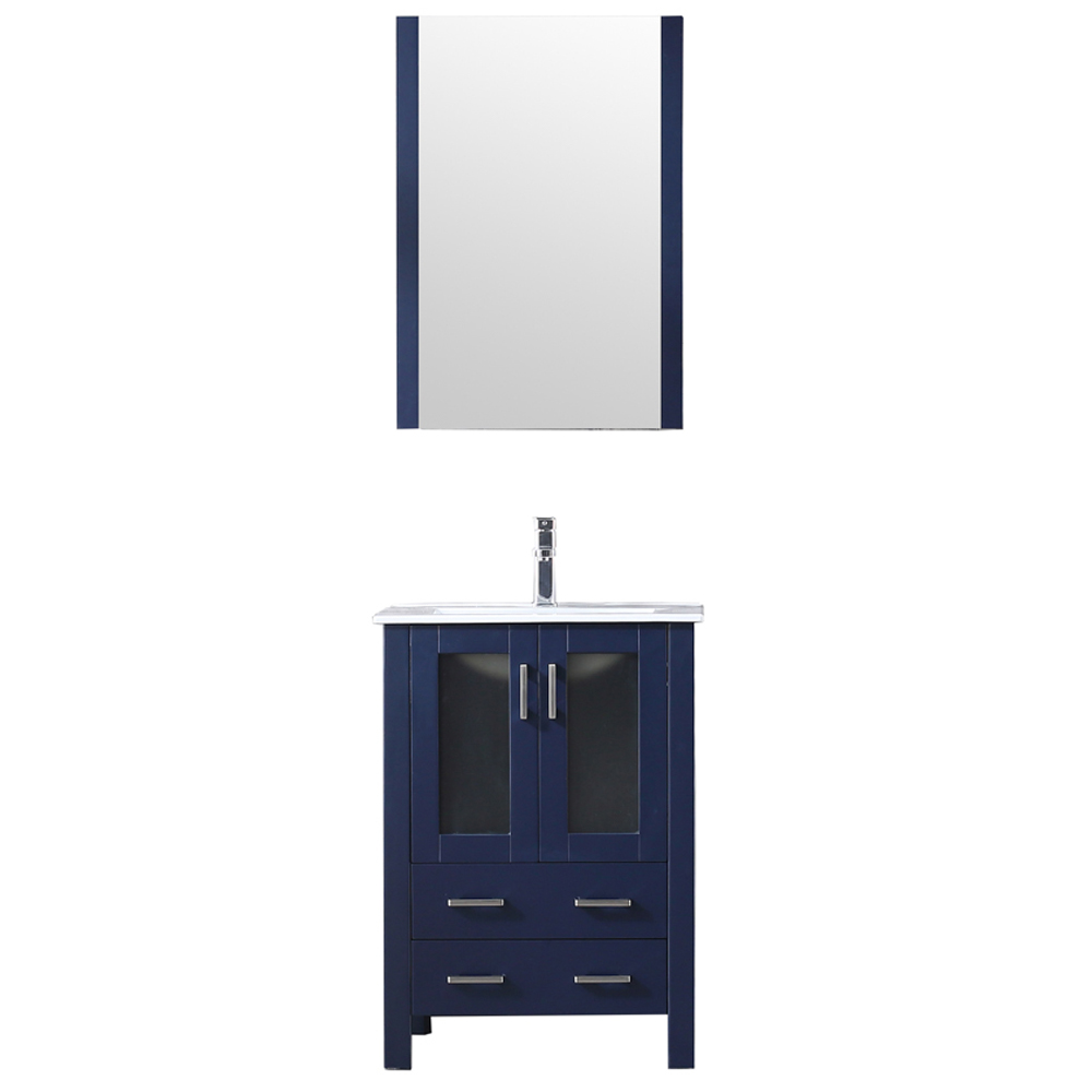 "24"" Navy Blue Single Vanity, Integrated Top, White Integrated Square Sink and no Mirror"
