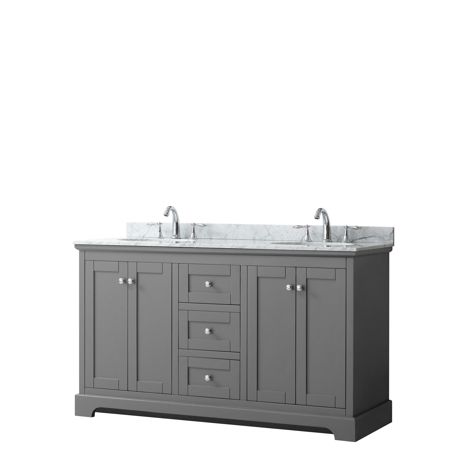 "60"" Double Bathroom Vanity in Dark Gray, No Countertop, No Sinks, and No Mirror"