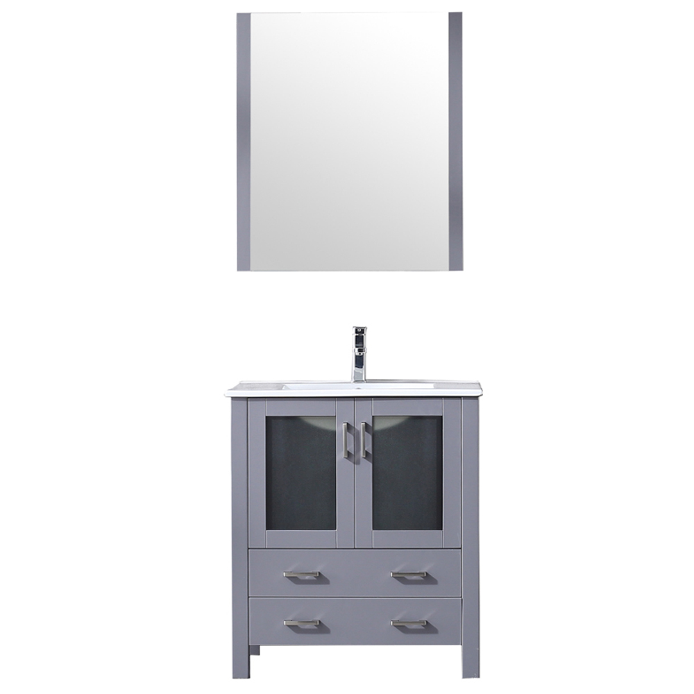 "30"" Dark Grey Single Vanity, Integrated Top, White Integrated Square Sink and no Mirror"
