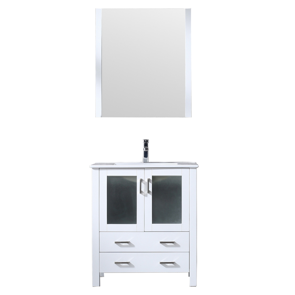 "30"" White Single Vanity, Integrated Top, White Integrated Square Sink and no Mirror"
