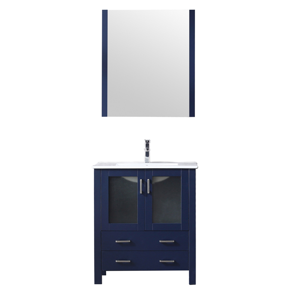 "30"" Navy Blue Single Vanity, Integrated Top, White Integrated Square Sink and no Mirror"