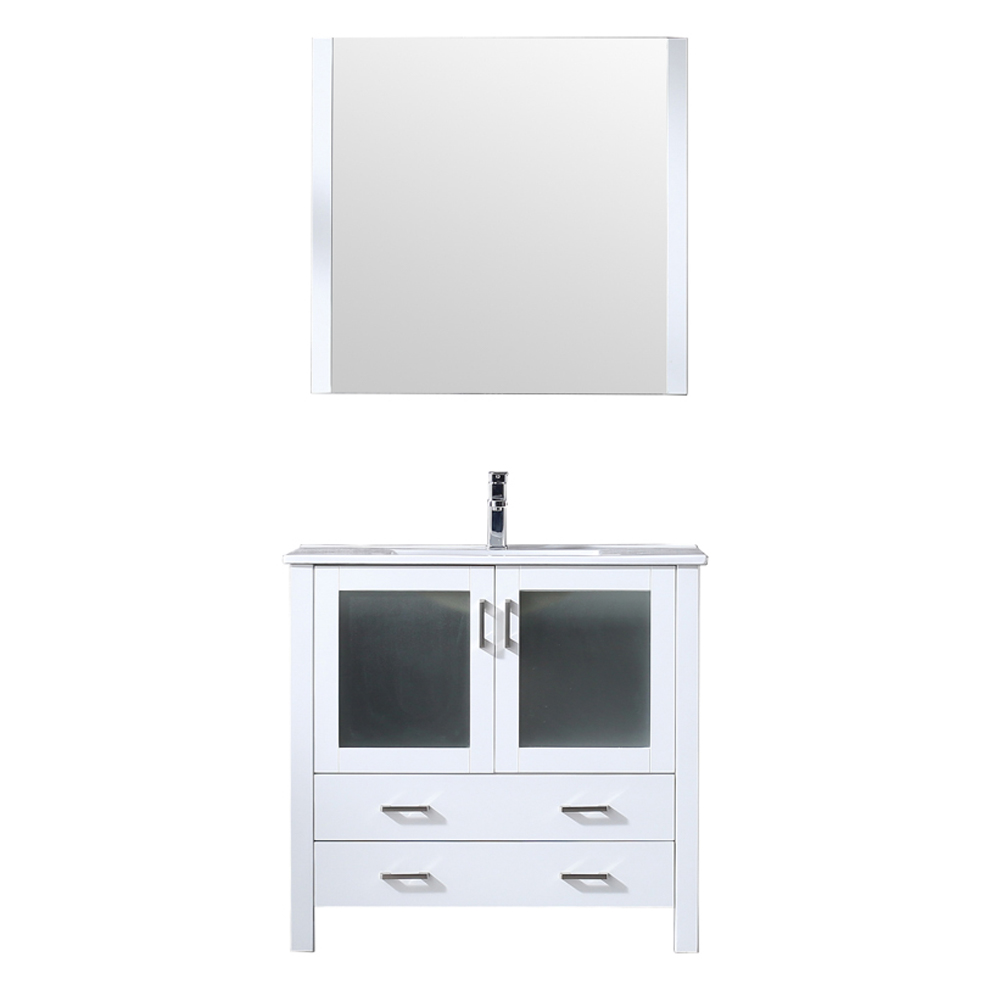 "36"" White Single Vanity, Integrated Top, White Integrated Square Sink and no Mirror"