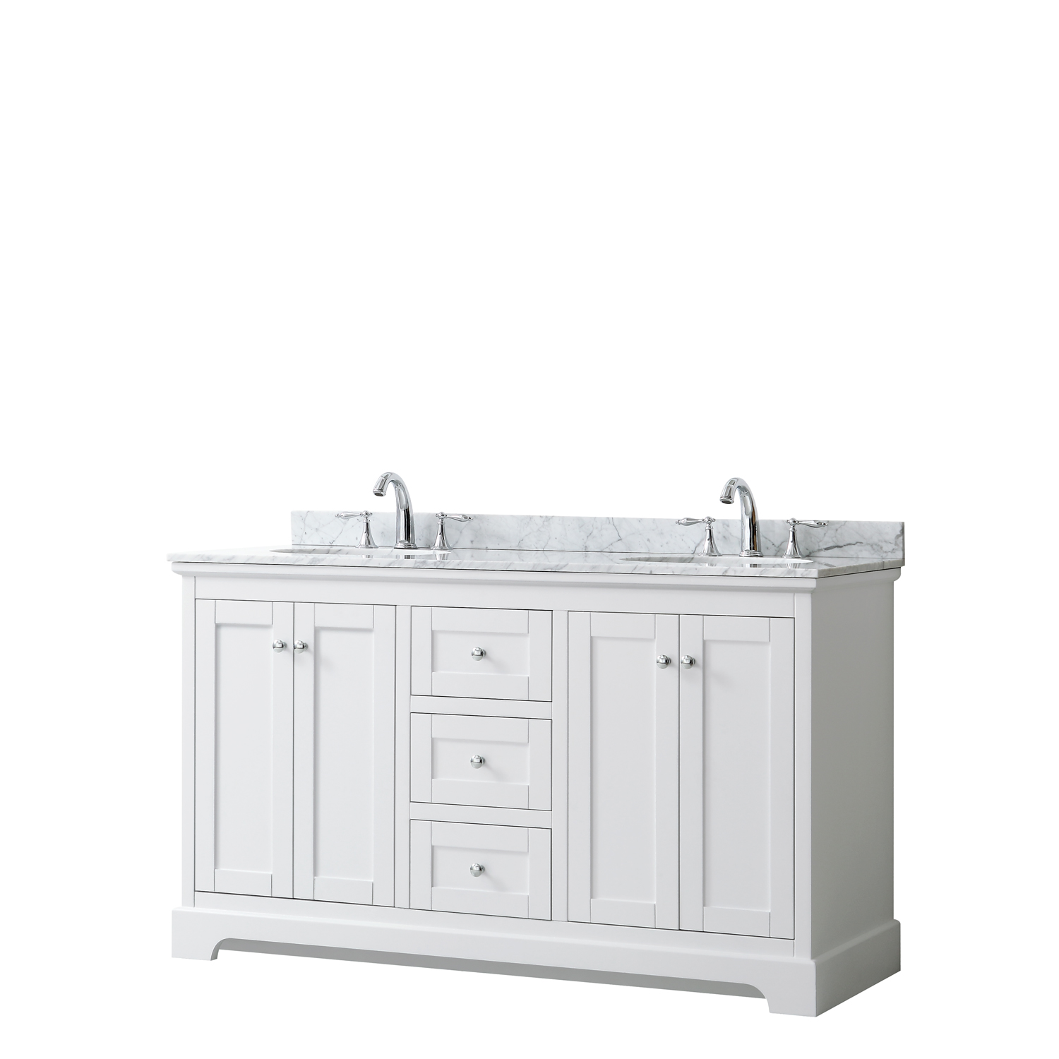 "60"" Double Bathroom Vanity in White, No Countertop, No Sinks, and No Mirror"