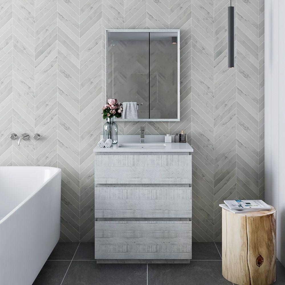 """30"""" Floor Standing Modern Bathroom Vanity w/ Mirror in Rustic White"""