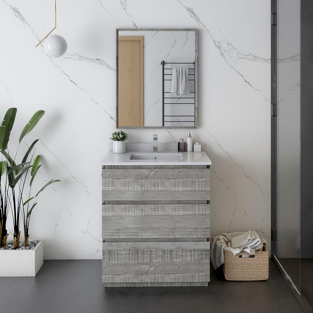 """30"""" Floor Standing Modern Bathroom Vanity w/ Mirror in Ash"""