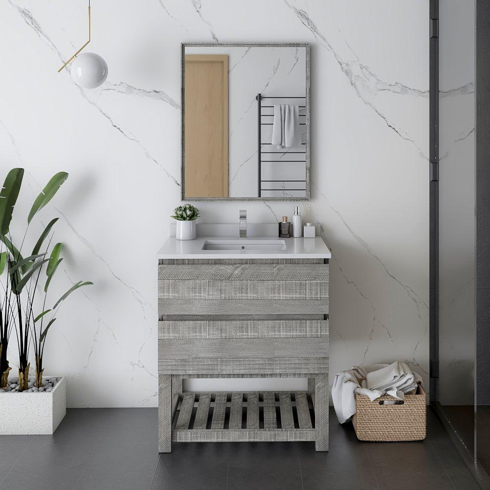 """30"""" Floor Standing Modern Bathroom Vanity w/ Open Bottom & Mirror in Ash"""