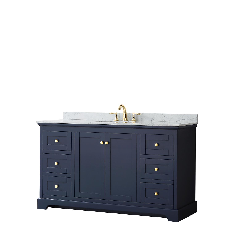 """60"""" Single Bathroom Vanity in Dark Blue, No Countertop, No Sink, and No Mirror"""