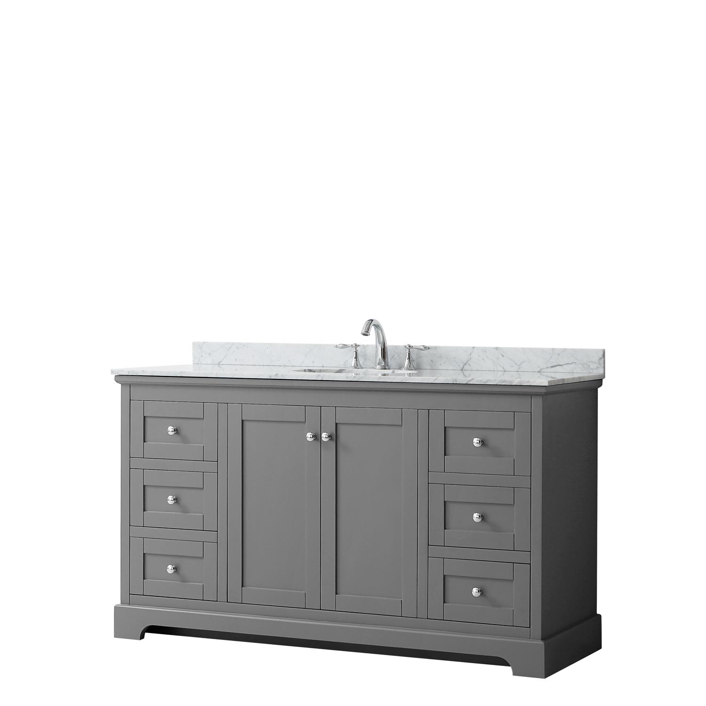 """60"""" Single Bathroom Vanity in Dark Gray, No Countertop, No Sink, and No Mirror"""