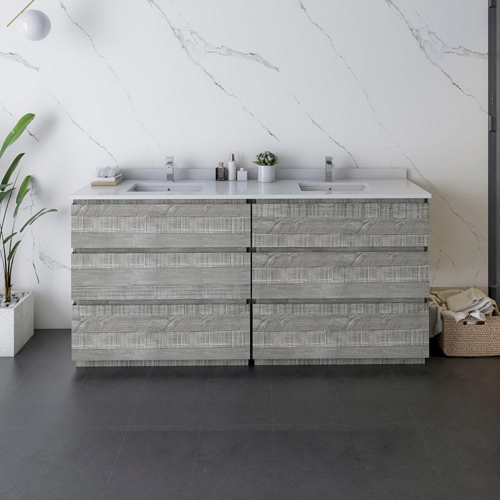 """72"""" Floor Standing Double Sink Modern Bathroom Cabinet w/ Top & Sinks in Ash"""