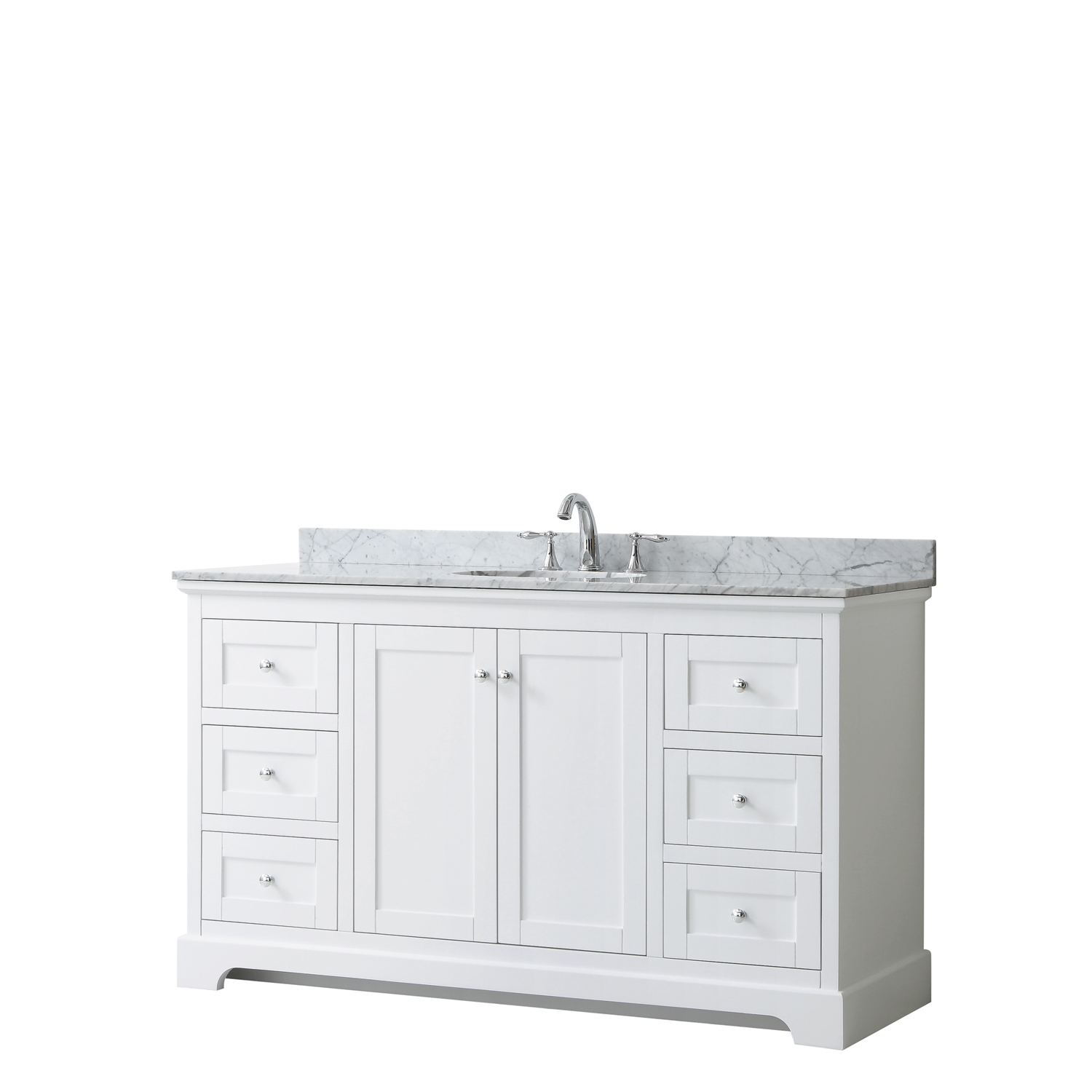 "60"" Single Bathroom Vanity in White, No Countertop, No Sink, and No Mirror"