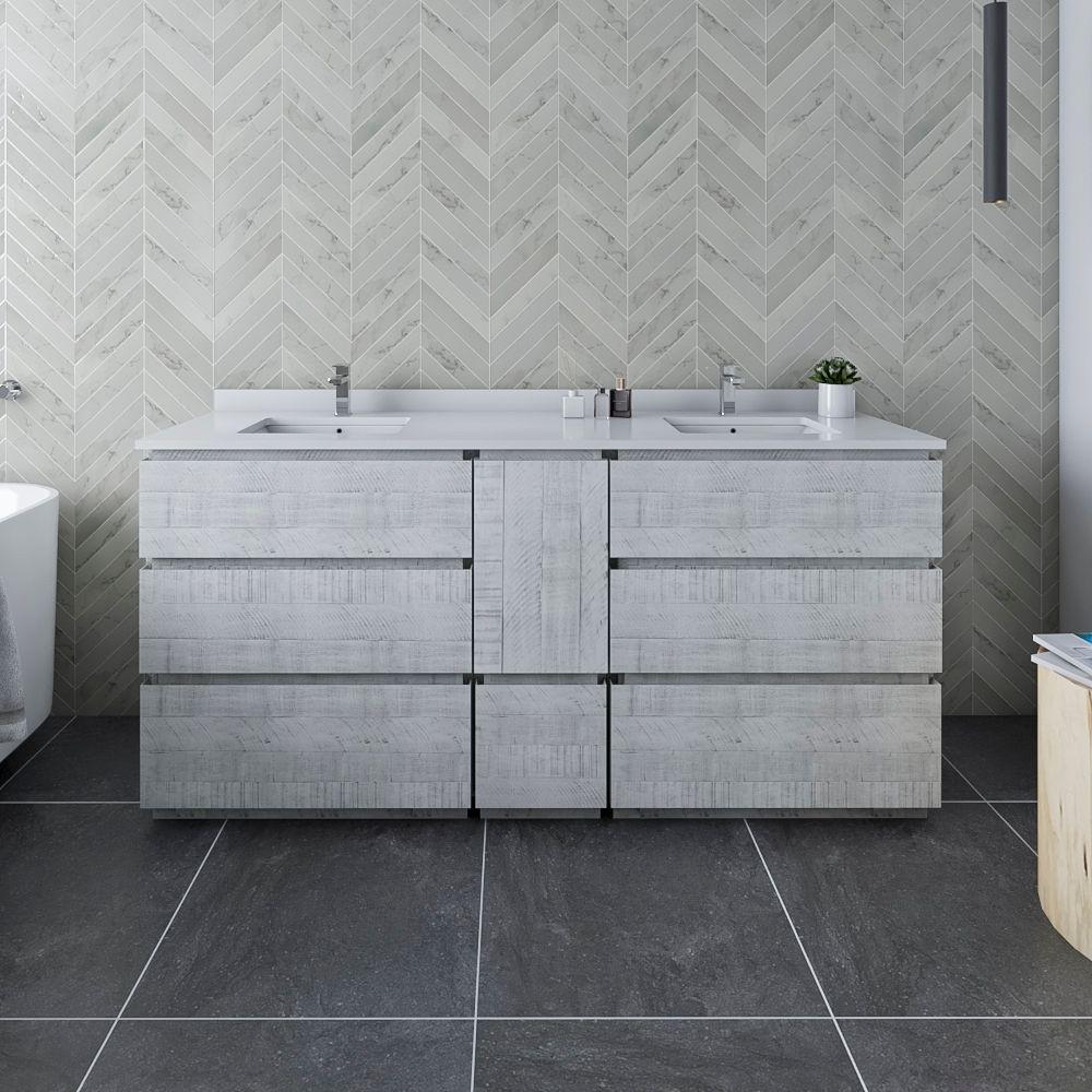 "72"" Floor Standing Double Sink Modern Bathroom Cabinet w/ Top & Sinks in Rustic White Finish"