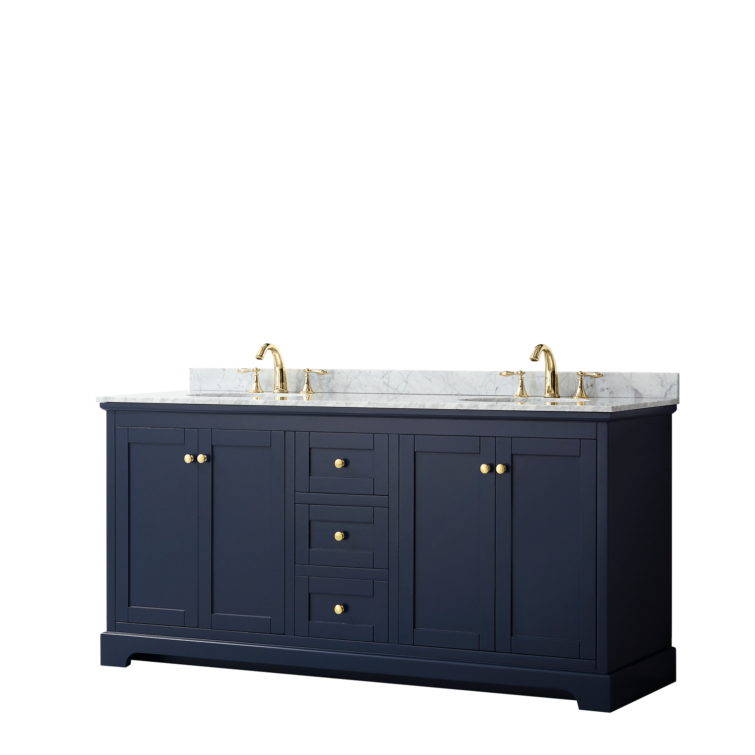 "72"" Double Bathroom Vanity in Dark Blue, No Countertop, No Sinks, and No Mirror"