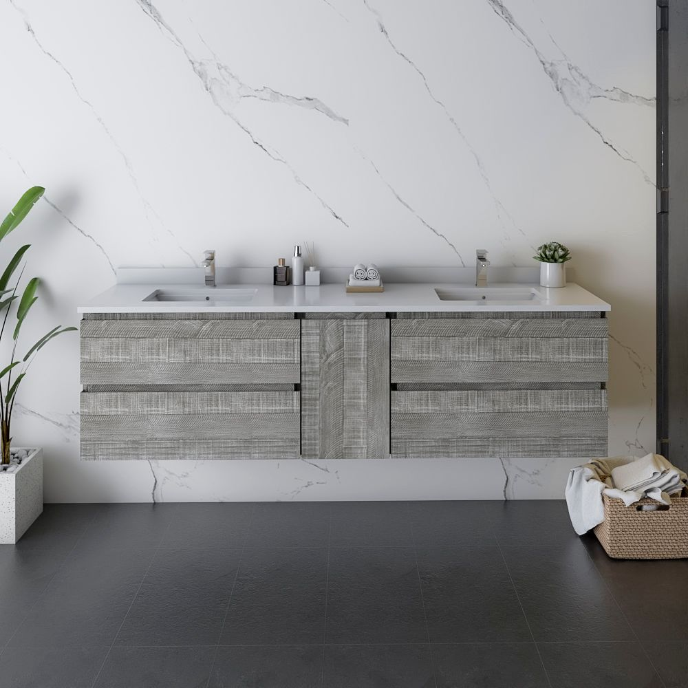 """72"""" Wall Hung Double Sink Modern Bathroom Cabinet w/ Top & Sinks in Ash Finish"""