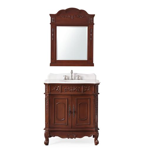 """33"""" Classic Style White Marble Sink Vanity & Mirror"""