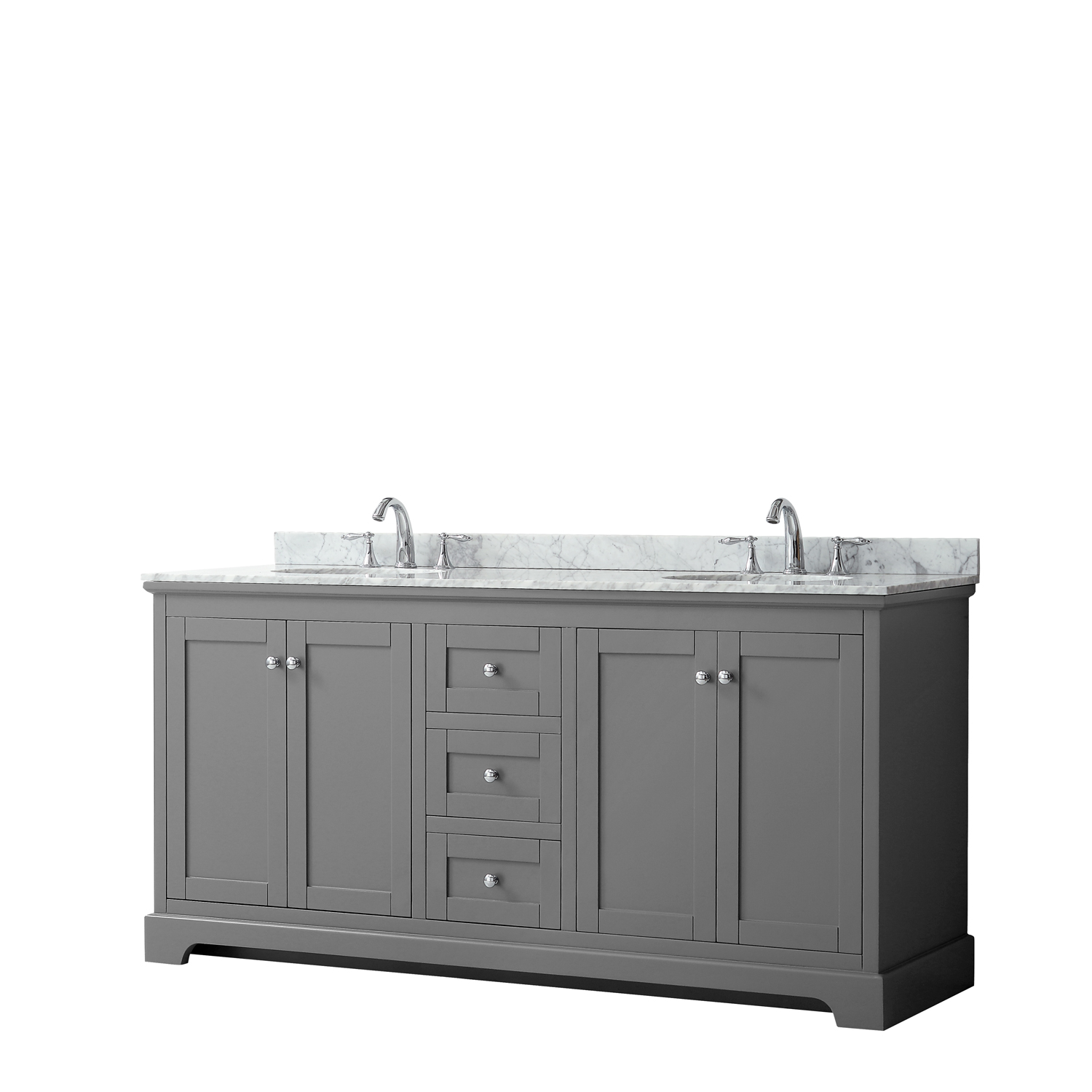 "72"" Double Bathroom Vanity in Dark Gray, No Countertop, No Sinks, and No Mirror"