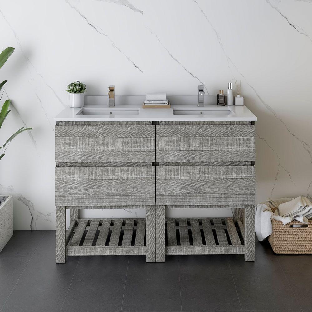 """48"""" Floor Standing Open Bottom Double Sink Modern Bathroom Cabinet w/ Top & Sinks in Ash"""