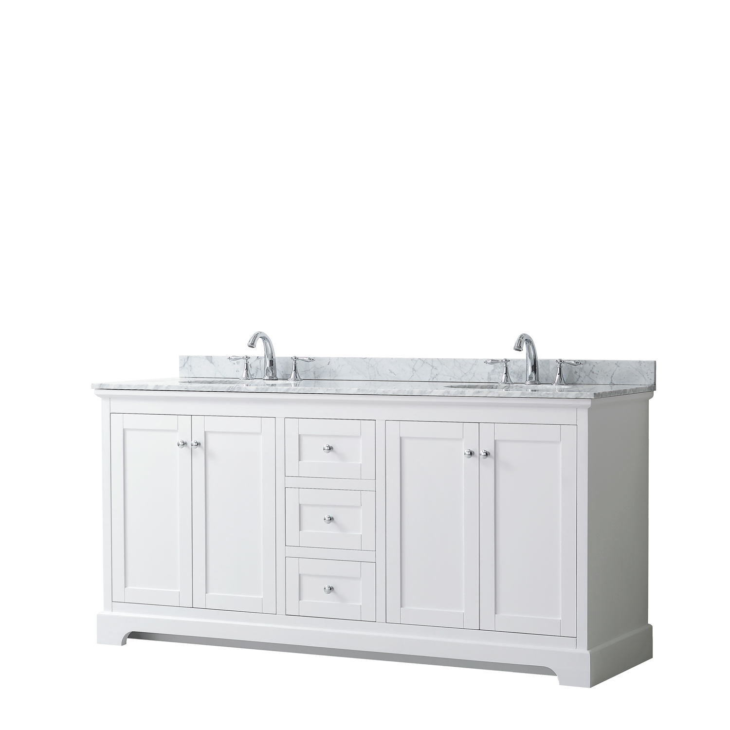 "72"" Double Bathroom Vanity in White, No Countertop, No Sinks, and No Mirror"