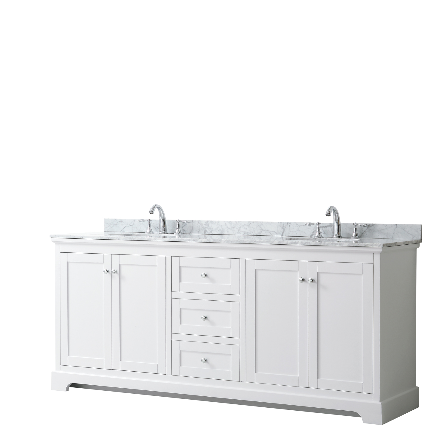 "80"" Double Bathroom Vanity in White, No Countertop, No Sinks, and No Mirror"
