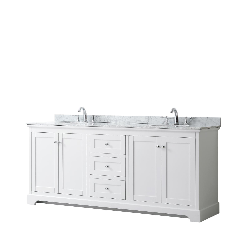 "80"" Double Bathroom Vanity in White, No Countertop, No Sinks, and No Mirror"