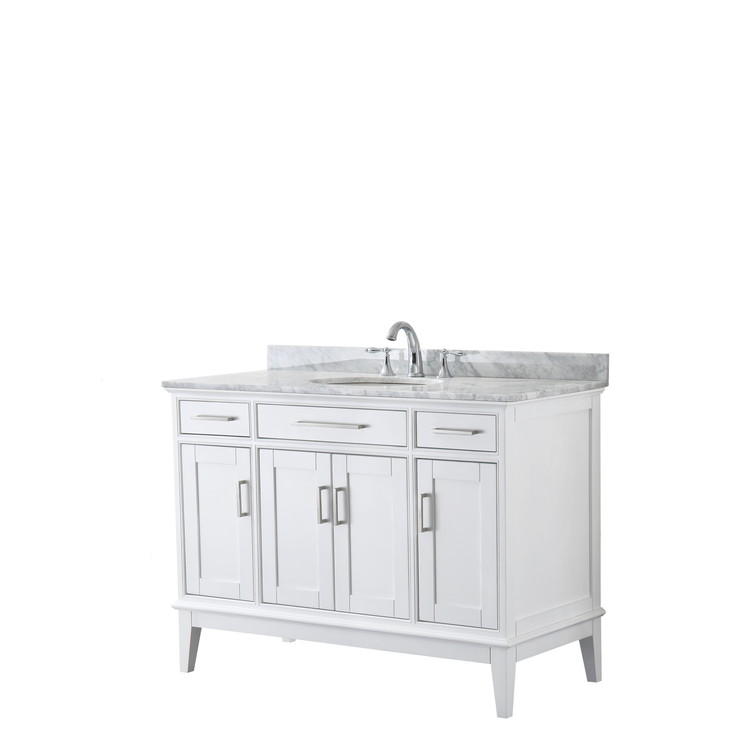 "Contemporary 48"" Single Bathroom Vanity in White, White Carrara Marble Countertop with Undermount Sink, and Mirror Options"