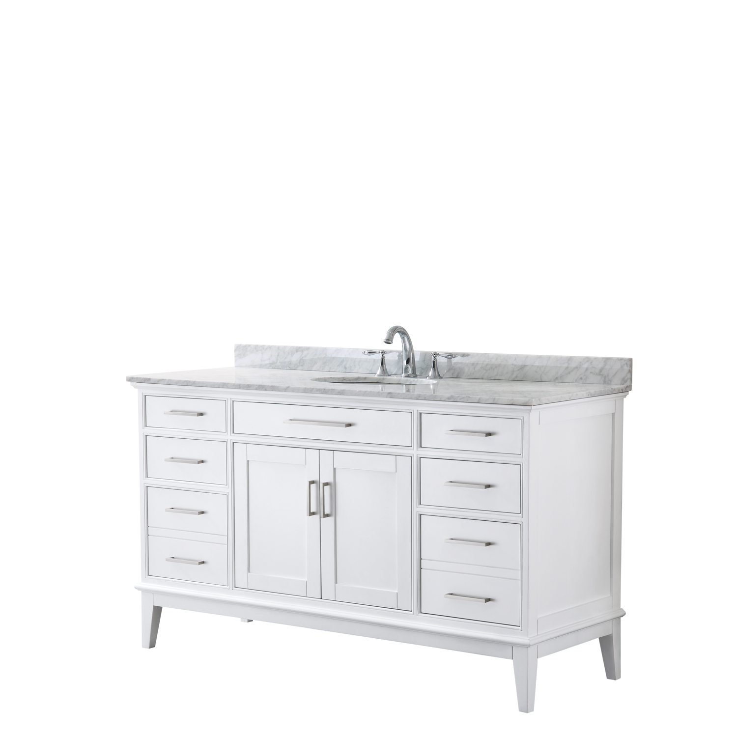 "Contemporary 60"" Single Bathroom Vanity in White, White Carrara Marble Countertop with Undermount Sink, and Mirror Options"