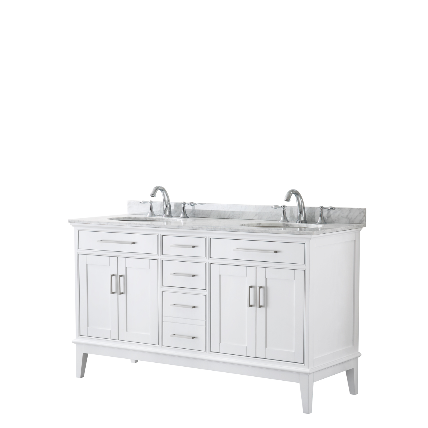 "Contemporary 60"" Double Bathroom Vanity in White, White Carrara Marble Countertop with Undermount Sinks, and Mirror Options"