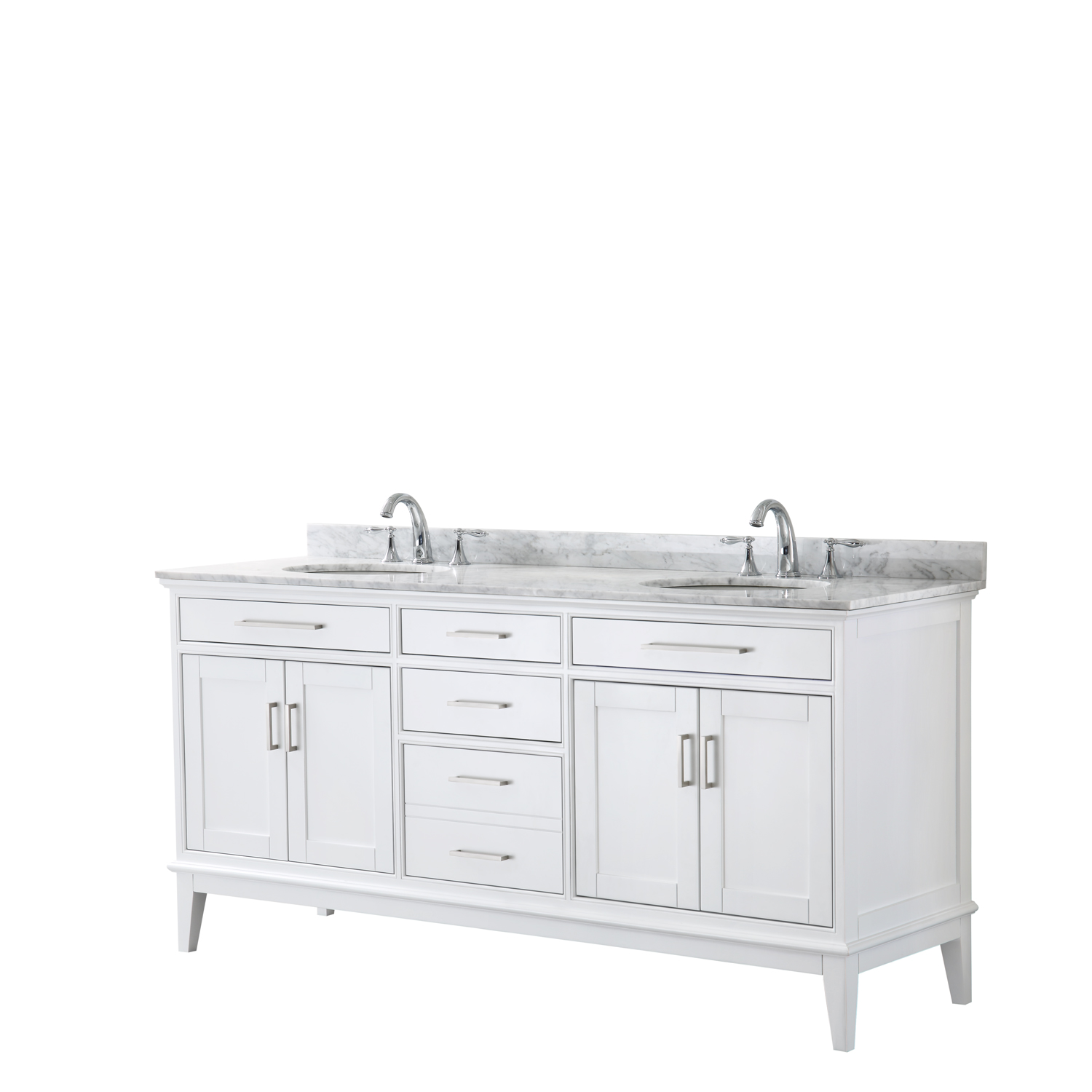 "Contemporary 72"" Double Bathroom Vanity in White, White Carrara Marble Countertop with Undermount Sinks, and Mirror Options"