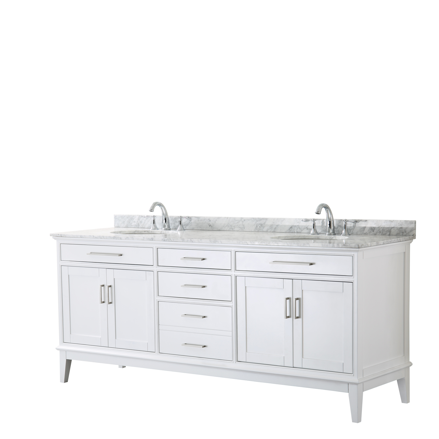 "Contemporary 80"" Double Bathroom Vanity in White, White Carrara Marble Countertop with Undermount Sinks, and Mirror Options"