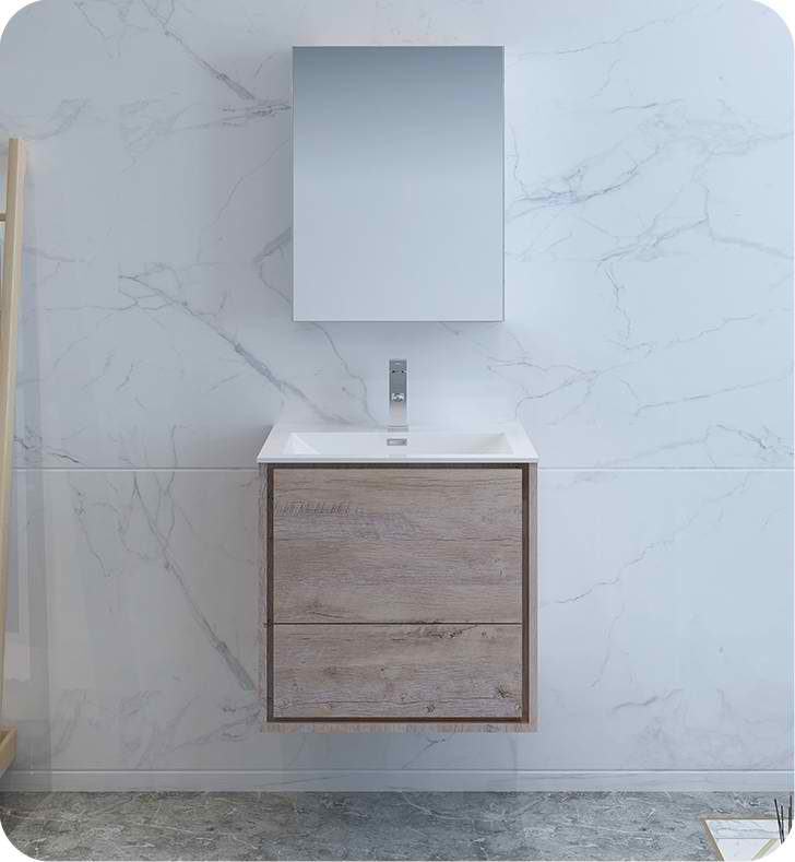 """Fresca Catania 24"""" Rustic Natural Wood Wall Hung Modern Bathroom Vanity with Medicine Cabinet and Faucet Options"""