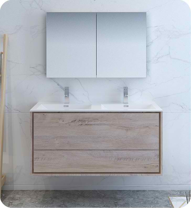 "48"" Rustic Natural Wood Wall Hung Double Sink Modern Bathroom Vanity with Medicine Cabinet and Faucet Options"