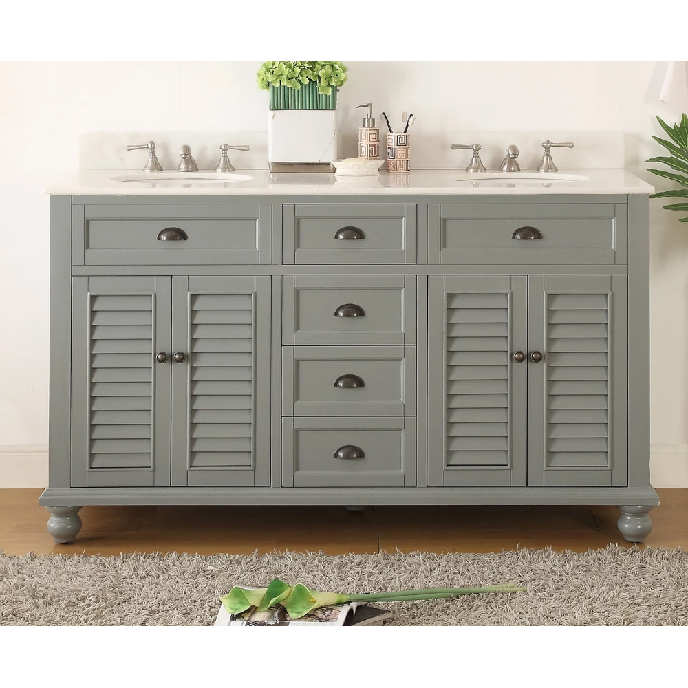 "62"" Vintage Gray Cottage Look Double Sink Bathroom Sink Vanity"