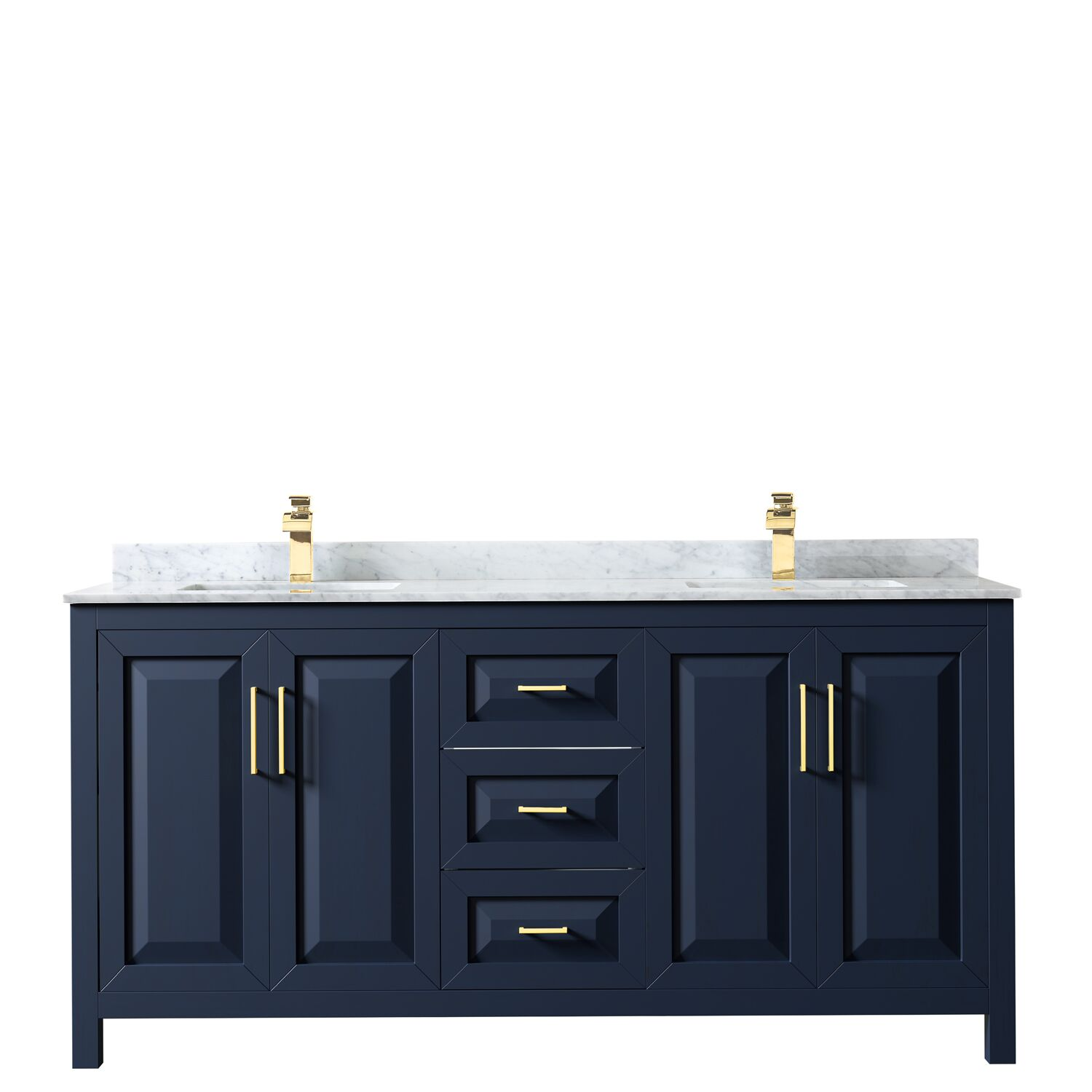 "72"" Double Bathroom Vanity in Dark Blue with Countertop, Mirror and Medicine Cabinet Options"