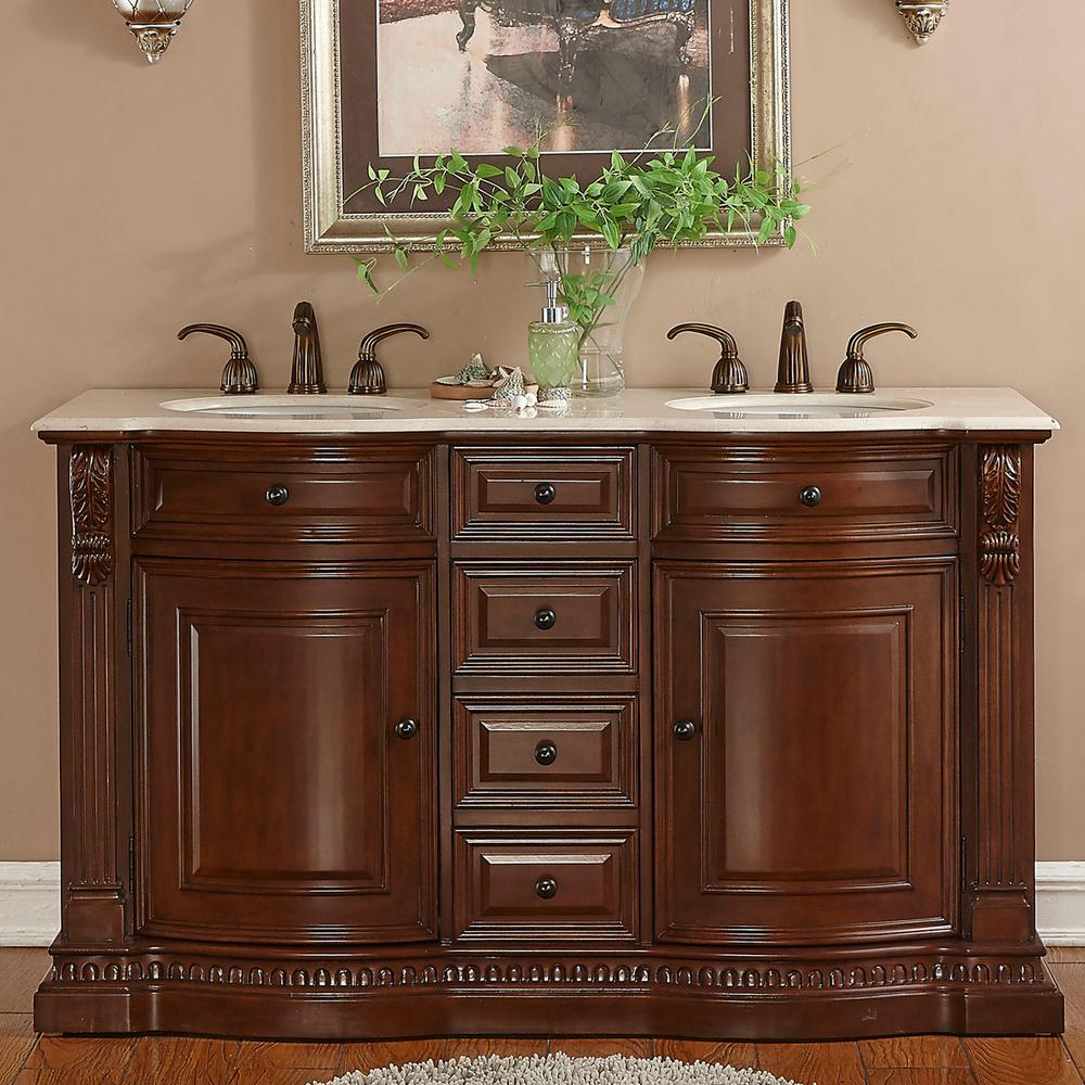 "60"" Double Sink Vanity in Brazilian Rosewood with Marble Vanity Top in Cream Marfil with White Basin"