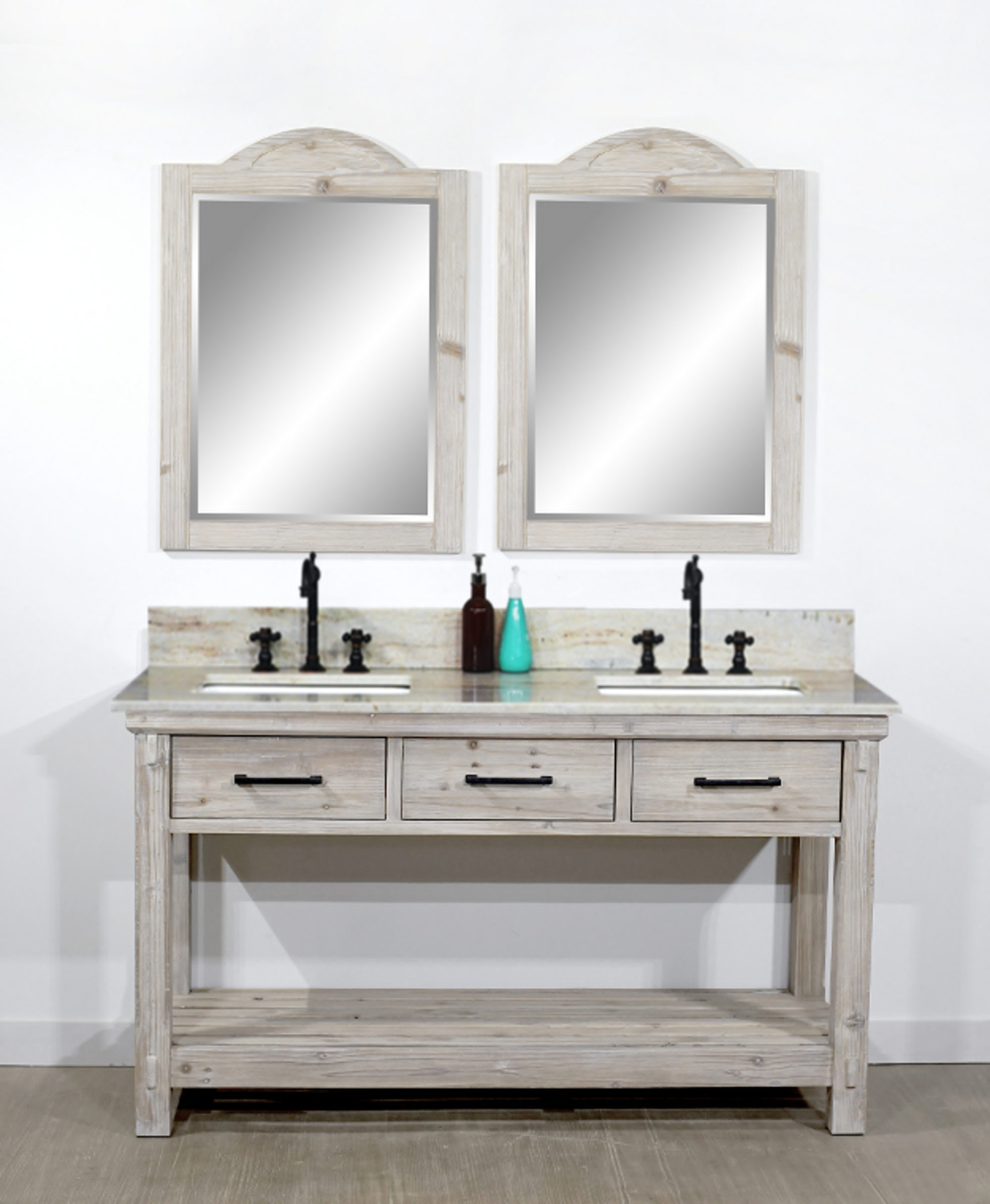 "60"" Rustic Solid Fir Double Sink Bathroom Vanity - No Faucet with Countertop Options"