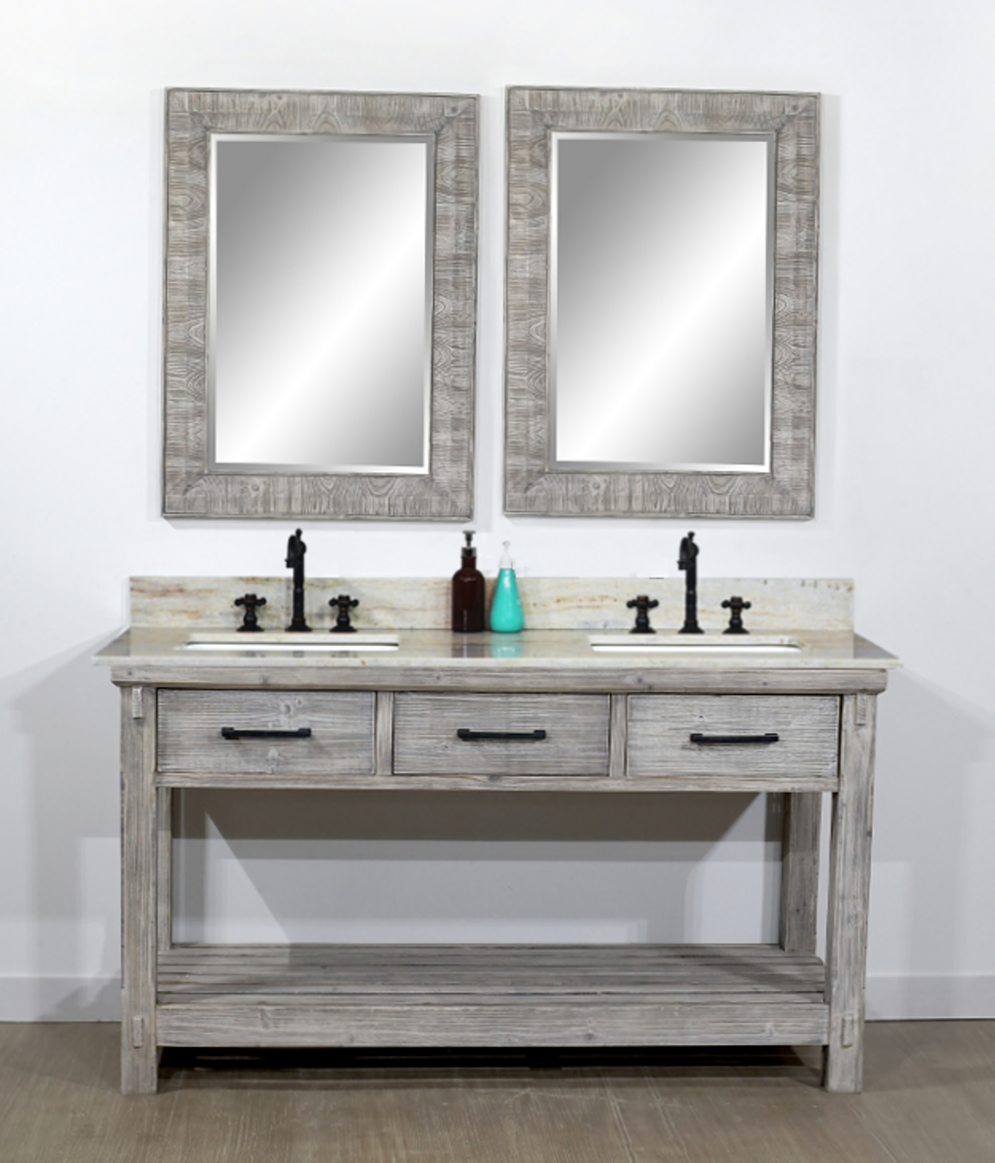 "60"" Rustic Solid Fir Double Sink Bathroom Vanity in Grey Driftwood Finish - No Faucet with Countertop Options"