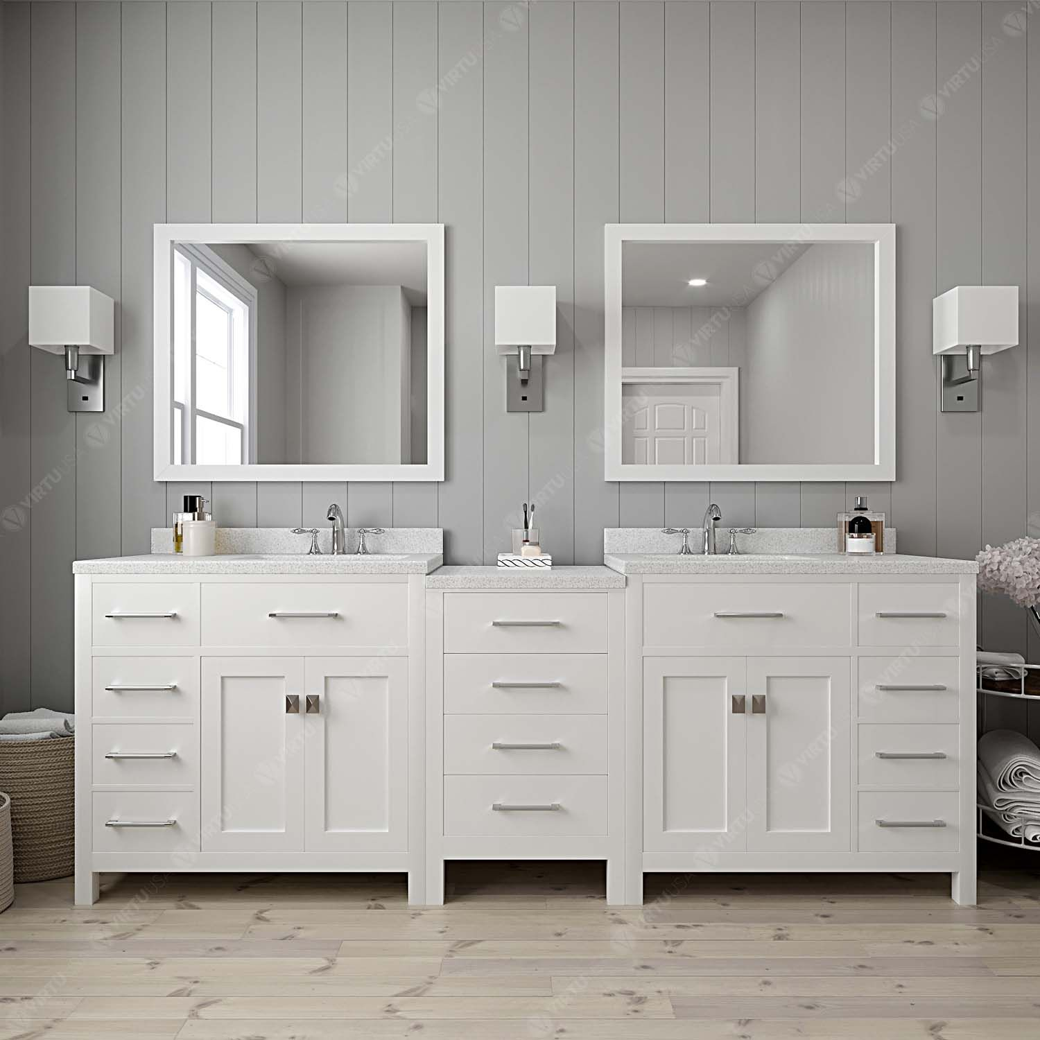"93"" Double Bath Vanity in White with Dazzle White Quartz Top and Square Sink with Mirrors"