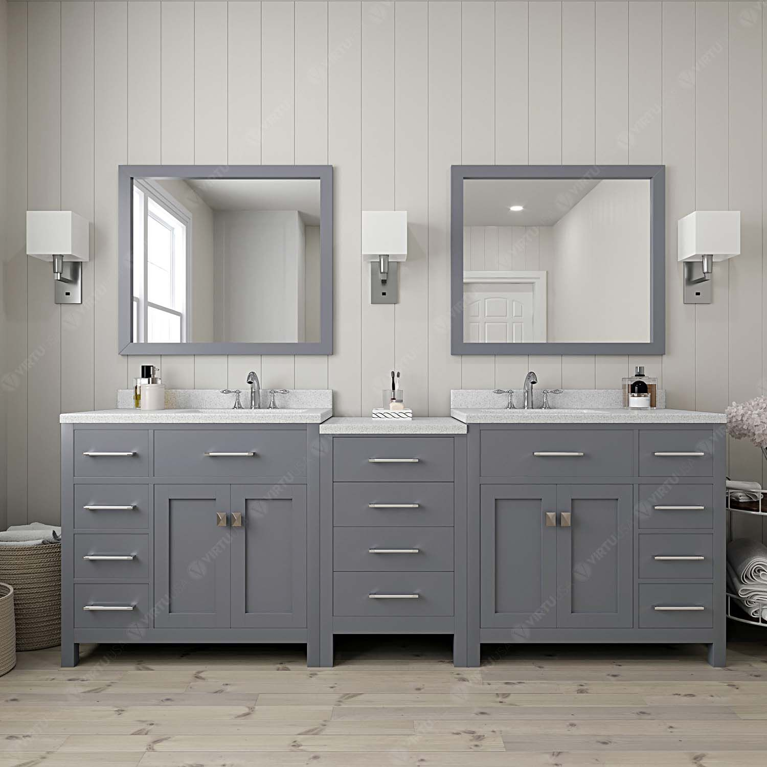 "93"" Double Bath Vanity in Grey with Dazzle White Quartz Top and Square Sink with Mirrors"
