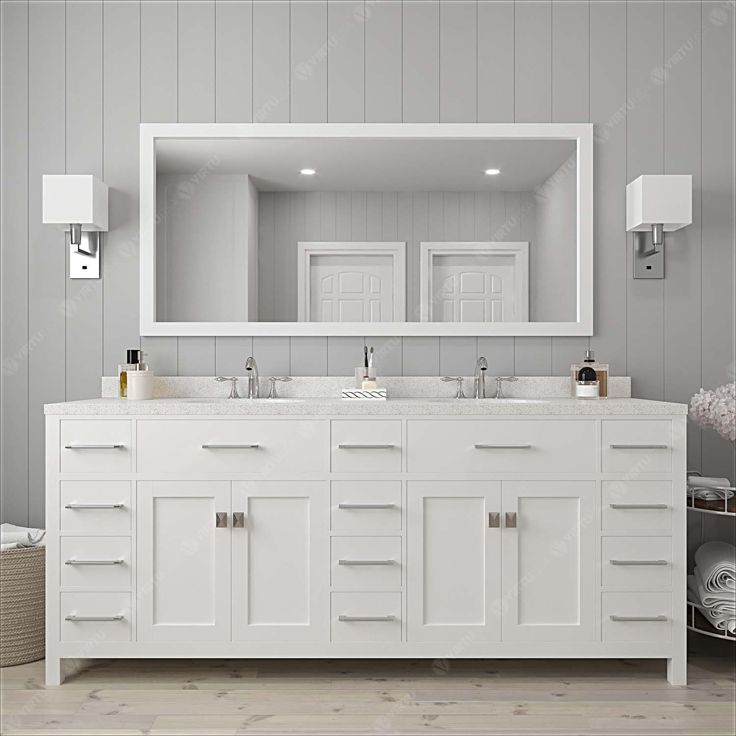 "78"" Double Bath Vanity in White with Dazzle White Quartz Top and Square Sink with Mirror"