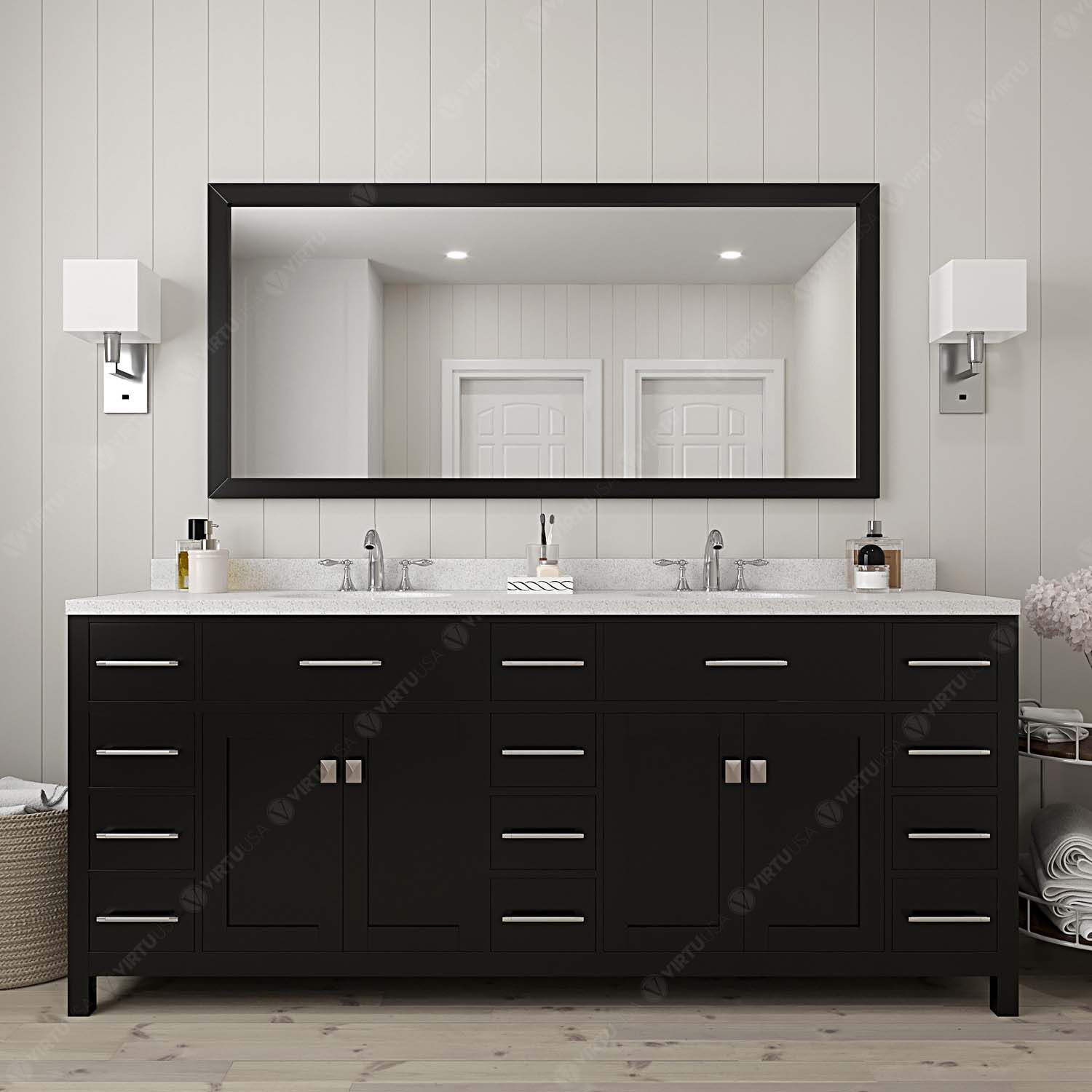 "78"" Double Bath Vanity in Espresso with Dazzle White Quartz Top and Square Sink with Mirror"