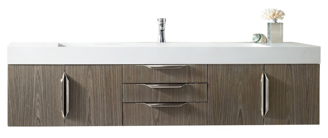 "James Martin Mercer Island Collection 72"" Single Vanity, Ash Gray Finish"