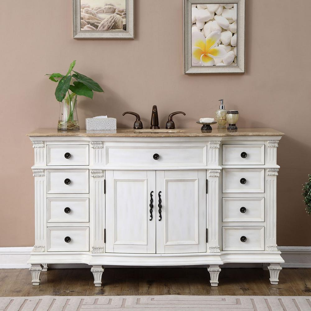 "Ariel Cambridge 37"" Left Offset Single Sink Vanity Set in White"