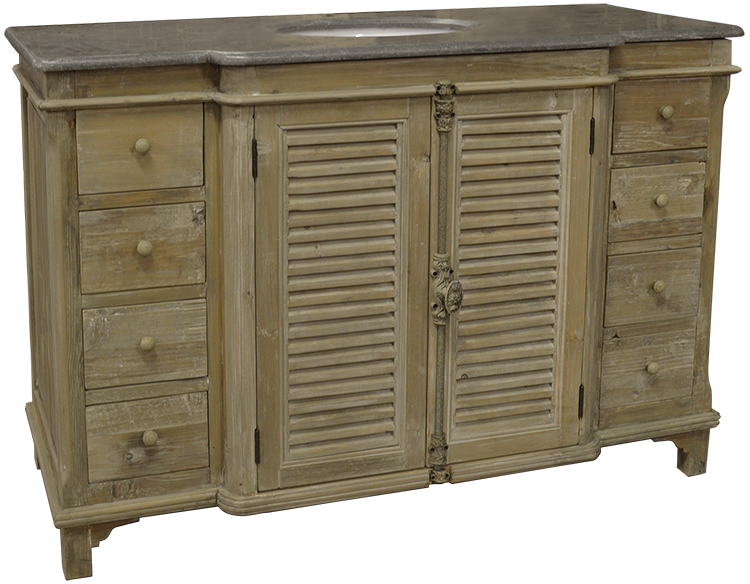 "51"" Handcrafted Reclaimed Pine Solid Wood Single Breakfront Bath Vanity"