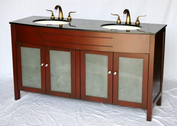 "60"" Adelina Contemporary Style Double Sink Bathroom Vanity in Cherry Wooden Cabinet Finish with Beige Stone Countertop"