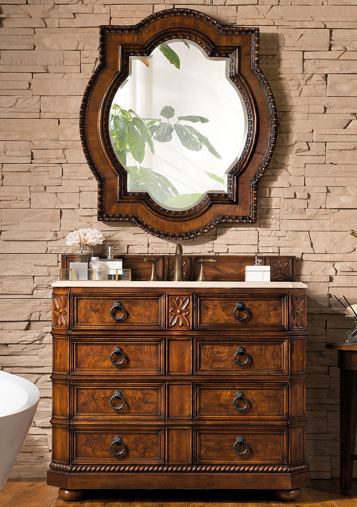 "James Martin Regent Collection 41"" Single Vanity, English Burl"