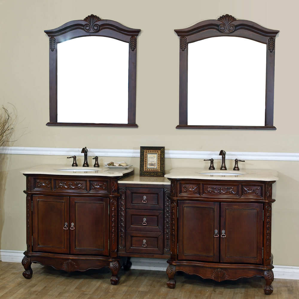"82.7"" Double Sink Vanity Walnut Cream Marble Top Finish"