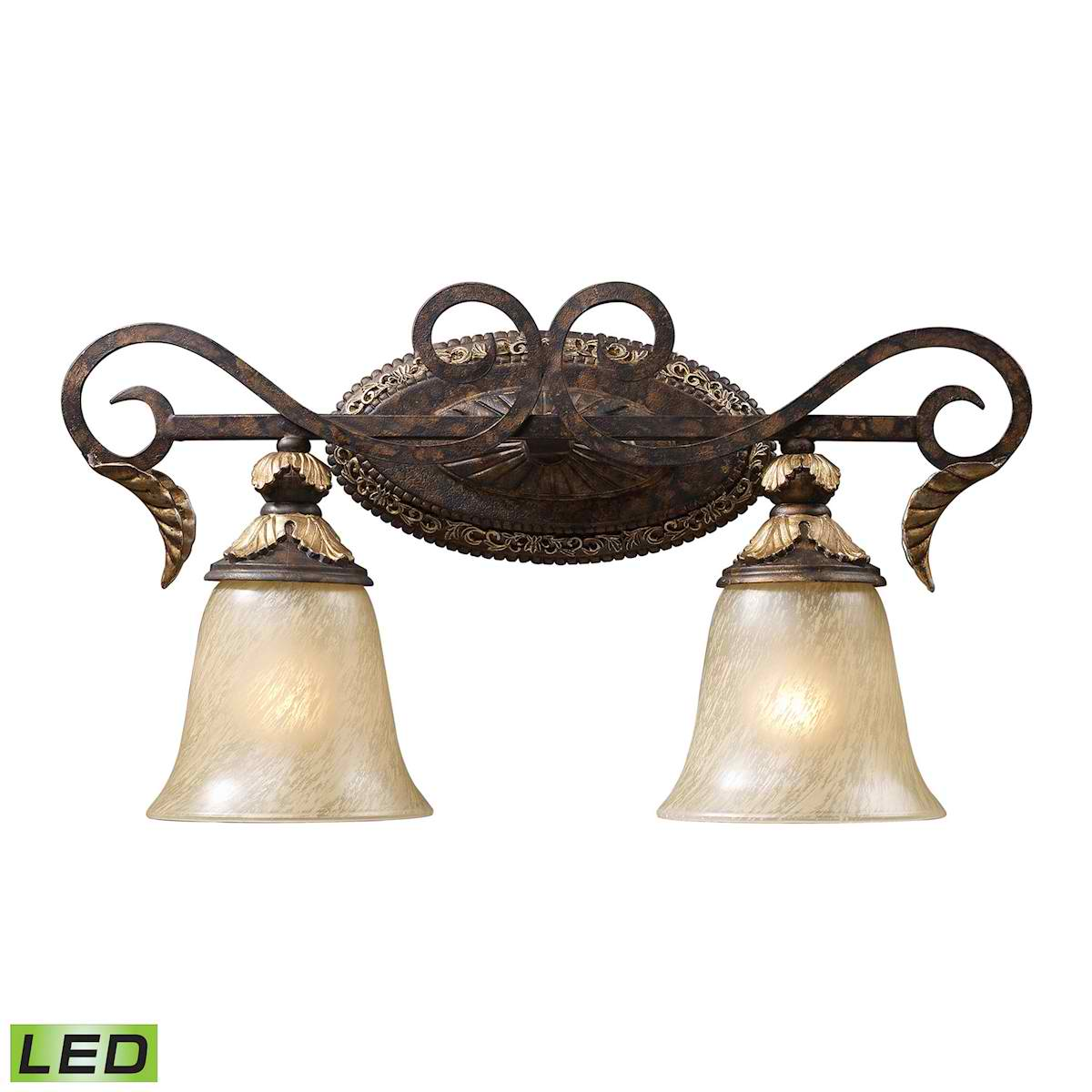 2 Light Vanity in Burnt Bronze - LED, 800 Lumens (1600 Lumens Total) with Full Scale Dimming Range,